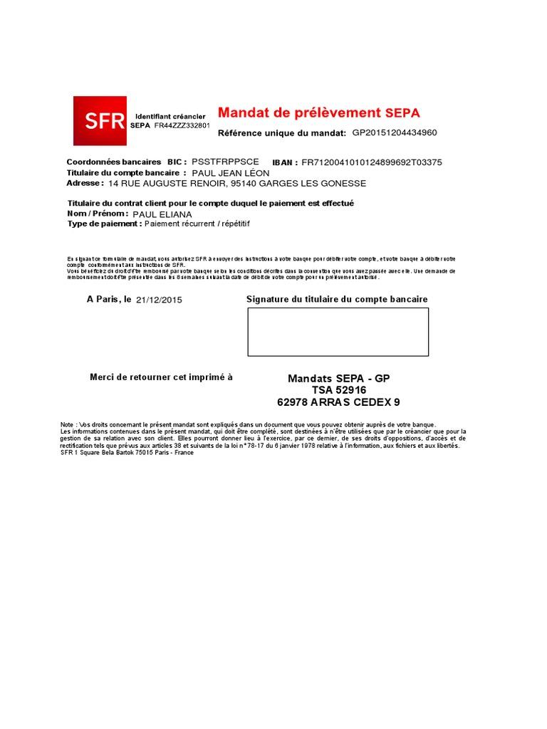 MANDAT SEPA TÉLÉCHARGER DE SFR PRÉLÈVEMENT