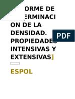 Informe de laboratorio de química Espol