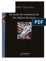 Simondon Gilbert - El Modo de Existencia de Los Objetos Tecnicos