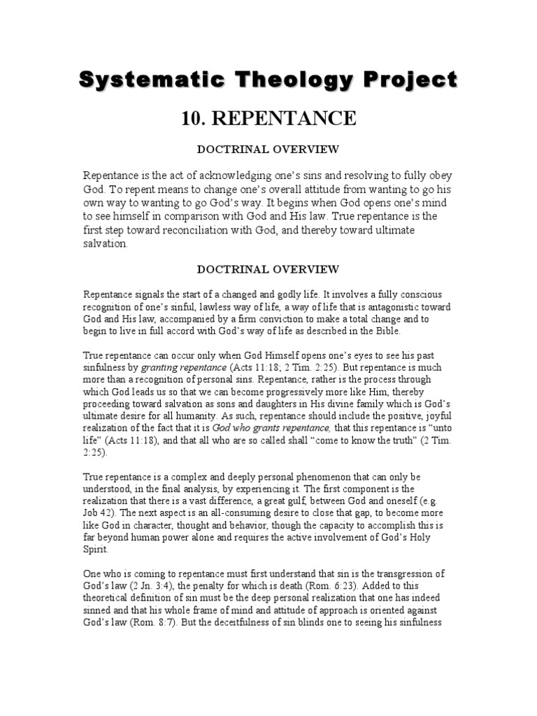 systematic theology project 10 repentance | repentance | sin