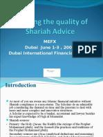 Ensuring quality of shariah advice
