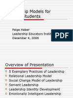 Haber- Lei Pre-Institute- Leadership Models for College Students
