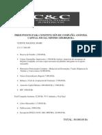 Presupuesto Constitución de Compañía Anonima Capital Social Minimo