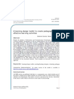 A Learning Design Toolkit to Create Pedagogically Effective Learning Activities Grainne Conole, Karen Fill
