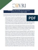 Comunicado del COVRI - Mercosur