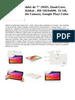 yuntab q88 tablet de 7'' (wifi, quad-core, android 4.4.2 kitkat , hd 1024x600, 32 gb, 8gb rom, doble camara, google play) color blanco.pdf
