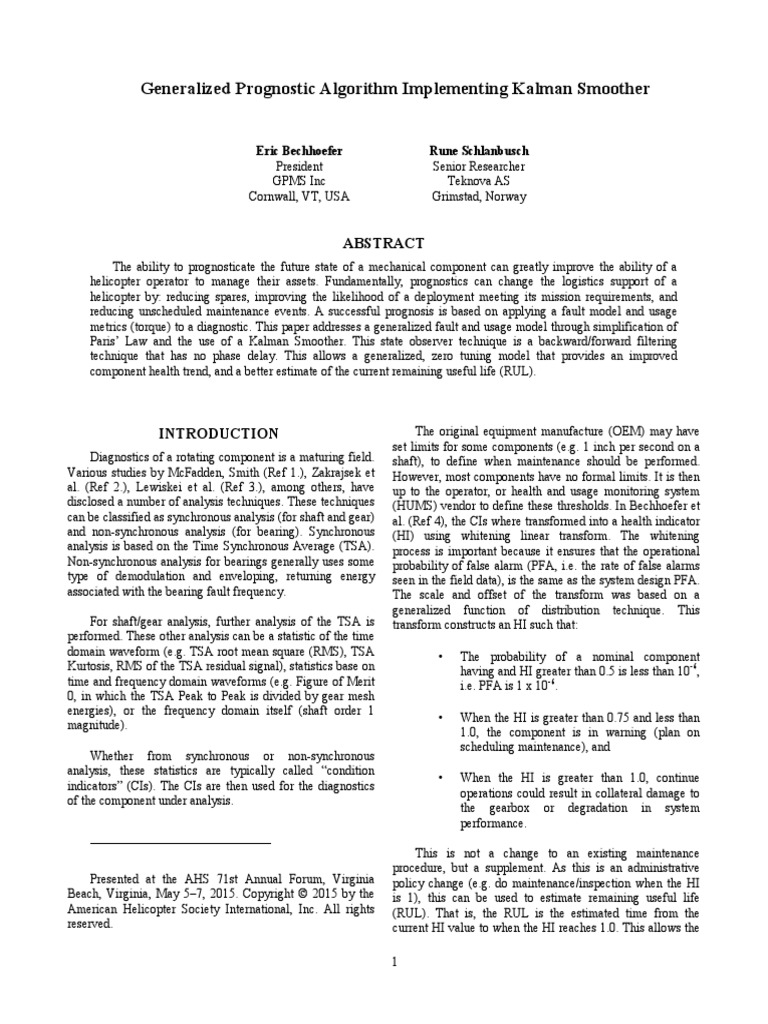 Generalized Prognostic Algorithm Implementing Kalman
