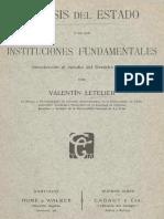 Valentín Letelier - Génesis Del Estado