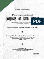 Congress of Farm Woman 1911