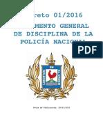 DECRETO 1-2016 Reglamento Gral. de Disciplina
