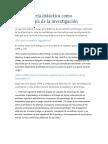 La Ingeniería Didáctica Como Metodología de La Investigación