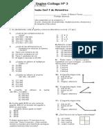 Prueba de Matemática Coef 2 II 3º Básico