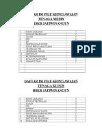 Daftar Isi File Kepegawaian Medis