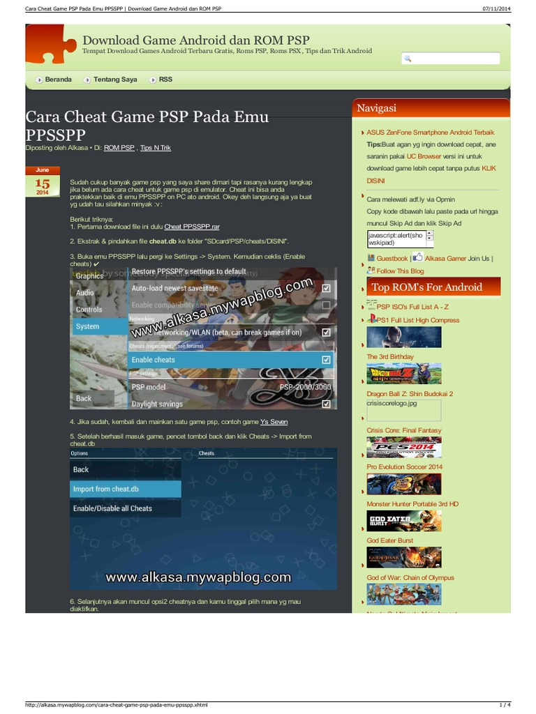 Cara Cheat Game PSP Pada Emu PPSSPP Download Game Android