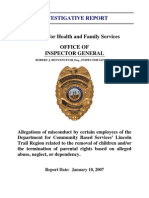 Kentucky Cabinet for Health and Family Services Inspector General Investigative Report 2007