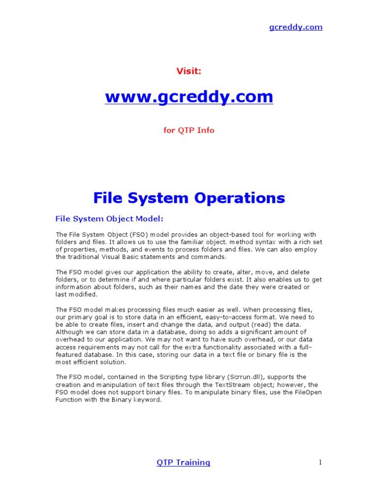 QTP Script examples | File System | Computer File