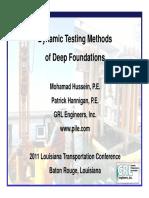 Dynamic Testing Methods of Deep Foundations