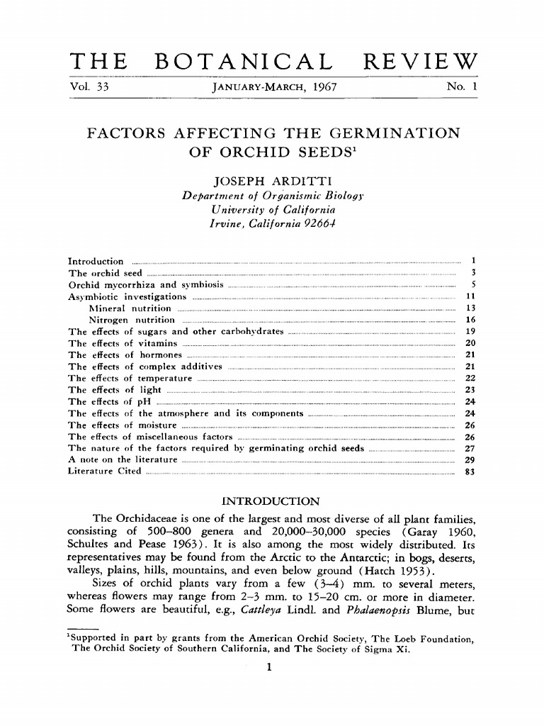 Arditti 1967 Factors Affecting The Germination Of Orchid