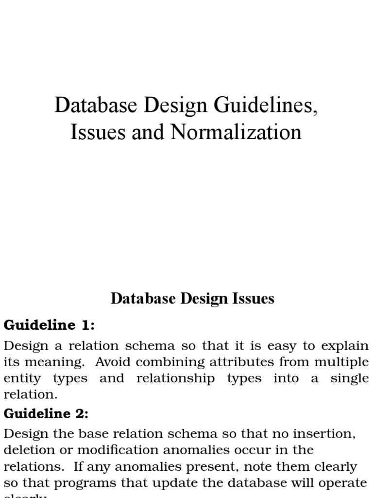 normalization scientific modeling software design - Database Design Guidelines