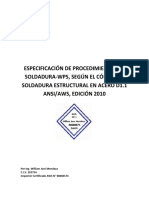 Especificación de Procedimientos de Soldadura, WPS Según D1.1 AWS -2010