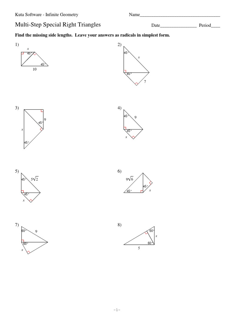 8 Multi Step Special Right Triangles Elementary Mathematics Polytopes