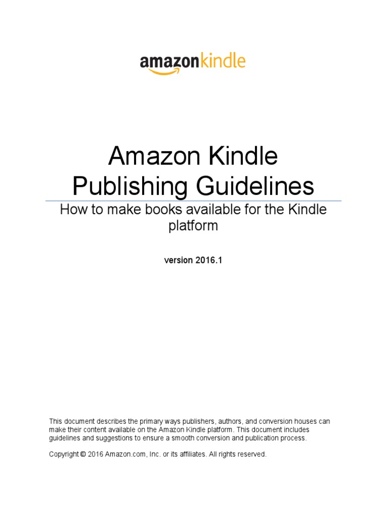 Amazon Kindle Publishing Guidelines | Amazon Kindle | Html