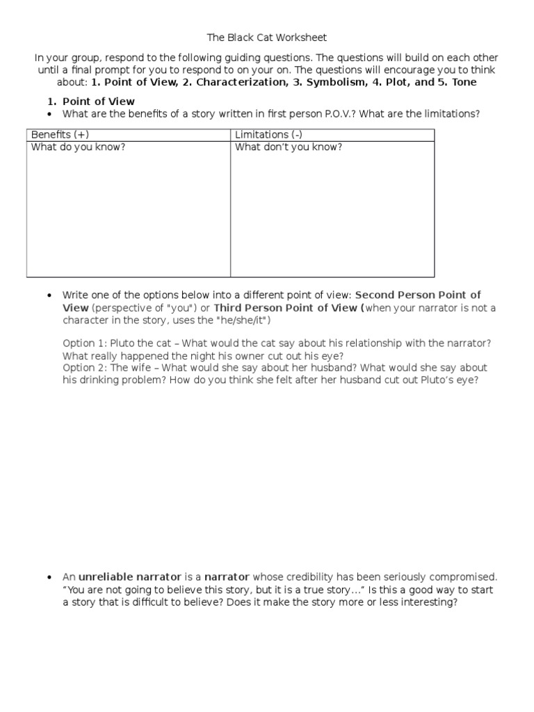 worksheet Tone Worksheets the black cat worksheet narration storytelling