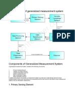 Block Diagram of Generalized Measurement System