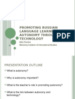 Promoting Russian Language Learner Autonomy Through Technology @ Презентация - Furniss Edie