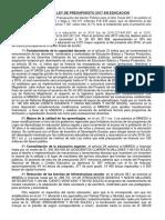 LEY Nº 30518, LEY DE PRESUPUESTO 2017 EN EDUCACIÓN