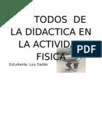 Metodos de La Didactica en La Actividad Fisica