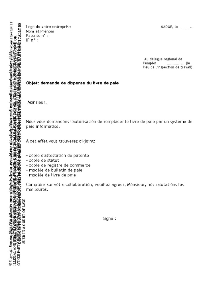 Préférence Demande de Dispense Du Livre de Paie XK27
