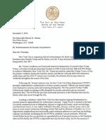 De Blasio's Letter to Obama Requesting Reimbursement for Trump Security Protection 12-5-16