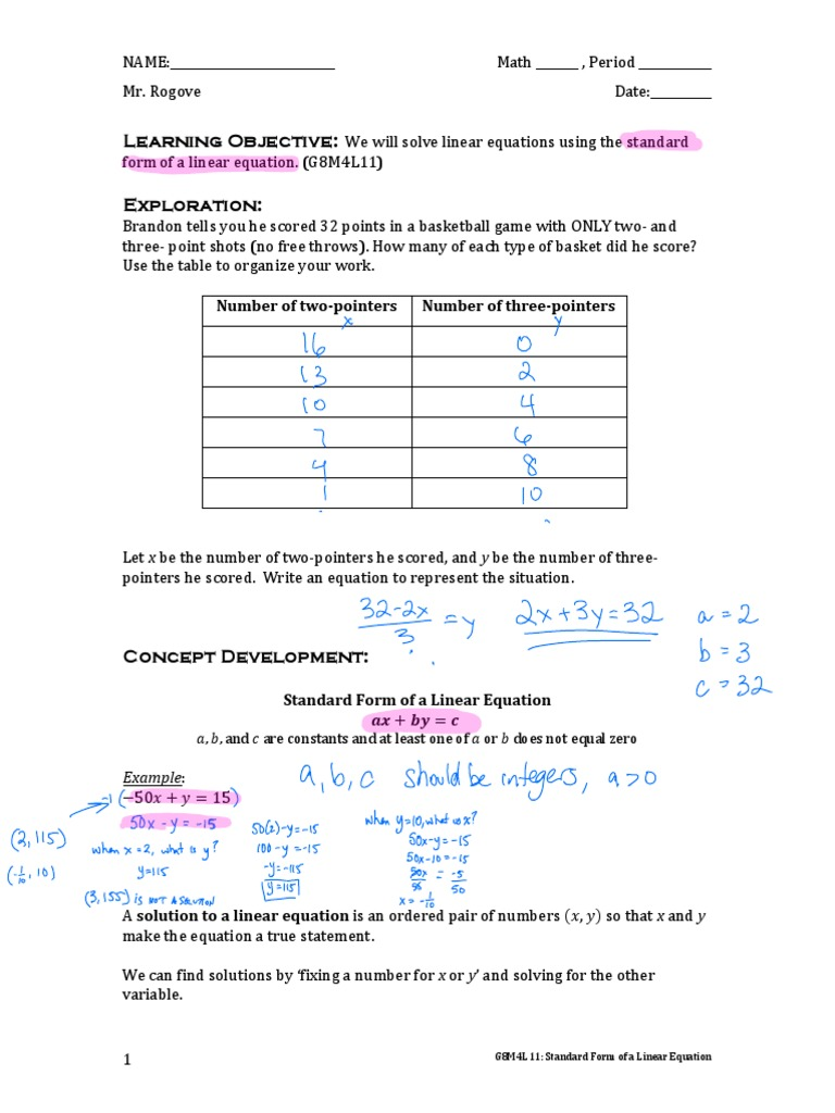 G8m4l11 Standard Form Of A Linear Equation 2 Equations Algebra