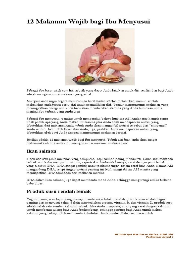 12 Makanan Wajib Bagi Ibu Menyusui