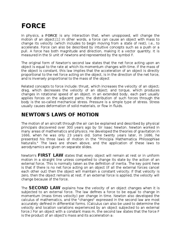 Force Newtons Laws Of Motion Force