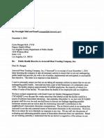 Aerocraft Letter to Public Health Dept.