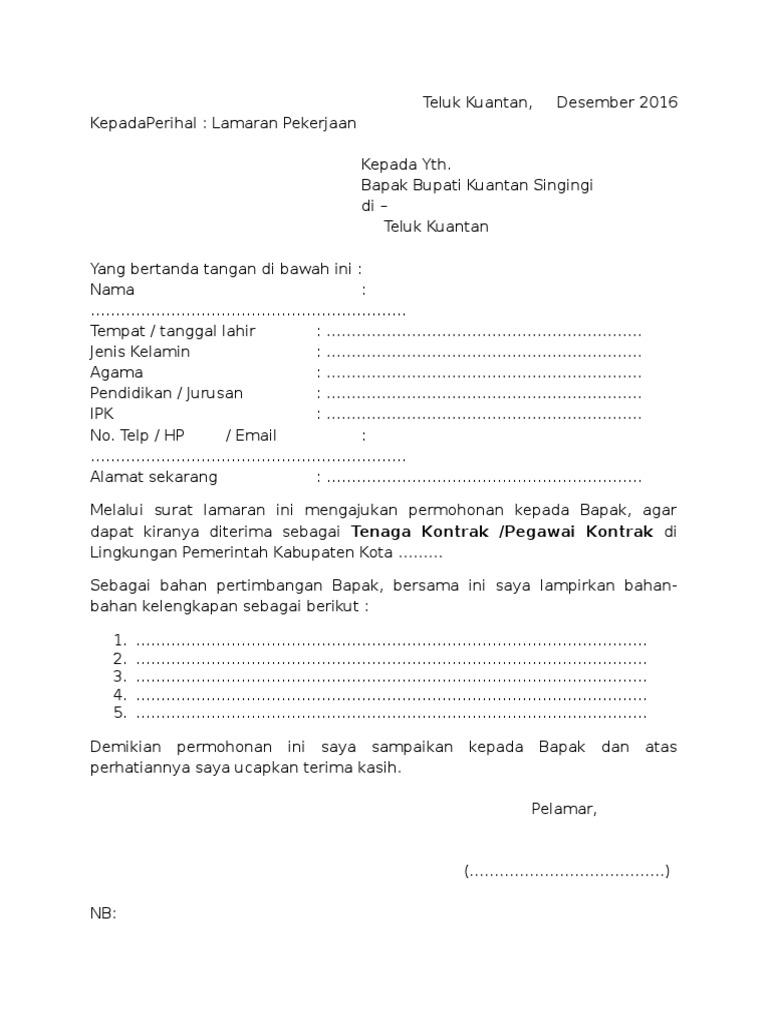 Surat Lamaran Tenaga Kontrak Pemda