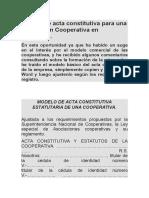 Modelo de Acta Constitutiva Para Una Asociación Cooperativa en Venezuela