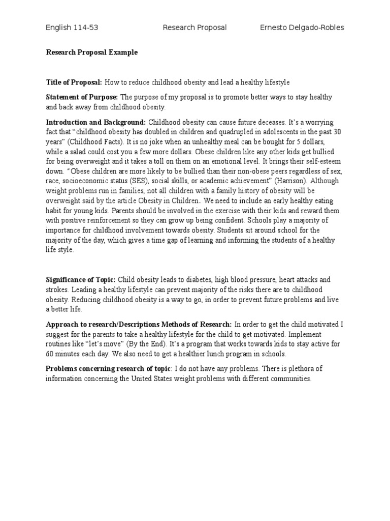 research proposal example childhood obesity lets move