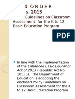 DO 8 s. 2016 Policy Guidelines on Classroom Assessment for the K to 12