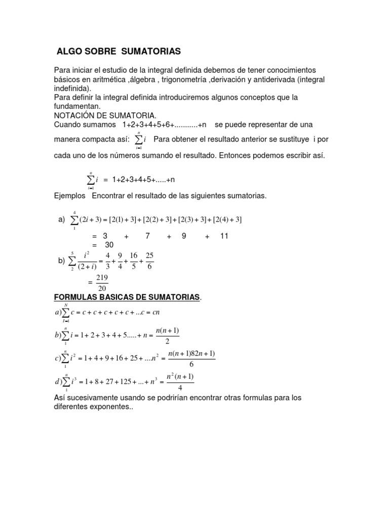 Sumatorias Formulas