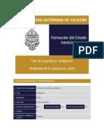 Plan de estudios 4to semestre - Formación Del Estado Mexicano