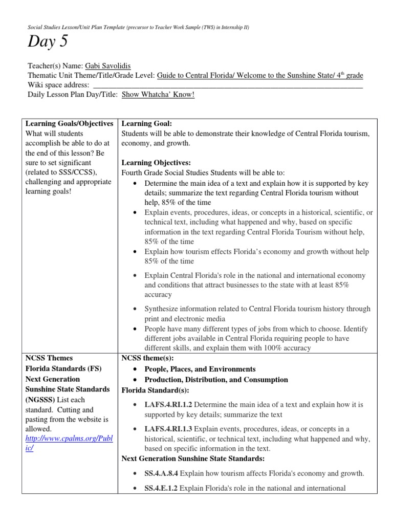 Day Educational Assessment Lesson Plan - Thematic lesson plan template
