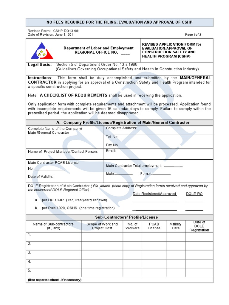 Application Form CSHprogram | Occupational Safety And Health | Safety