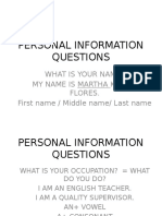 Personal Information Questions
