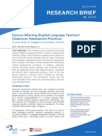 Factor Affecting English Language Teacher Classroom Assessment
