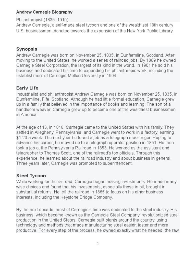 Andrew Carnegie Biography | Andrew Carnegie | Industries