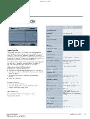 SIMATIC-IOT2020 Datasheet