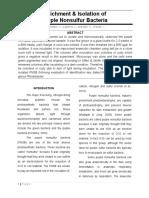 Enrichment & Isolation of Purple Non Sulfur Bacteria PAPER for DEFENSE